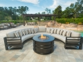 Palermo 3xCurved Sofa Sectional Mocha with Round Fire Pit Alameda Cocoa Cushions (8)