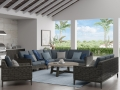 Remy Sectional Smoke with Armrest Caps - Amherst Chat Table Smoke Base